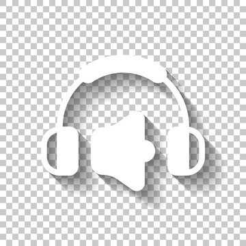 Headphones and volume level. Max volume level. Simple icon. Whit