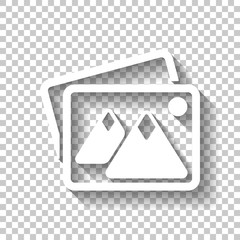 Stack of pictures with couple of mountains and sun. Simple icon.