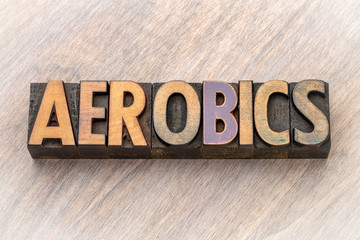 aerobics word abstract in wood type