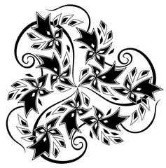 Fantasy Celtic disk ornament with triple spiral and Breton symbols, black and white vector image.