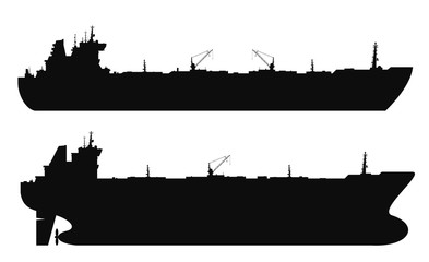 Set of 2 oil tankers silhouettes isolated white background. Vector illustration