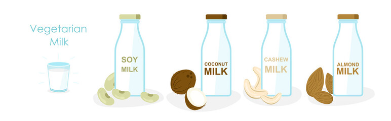 Vector illustration set of vegan milk, icons collection, bottles with vegetarian or plant based milk, soya, oatmeal and coconut, almond, cashew milk in cartoon flat style.
