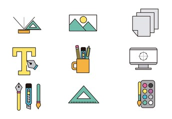 12 Colorful Office Icons