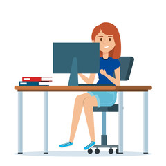 young woman in the workplace character vector illustration design