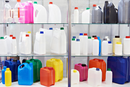 Plastic canisters for household liquid in store