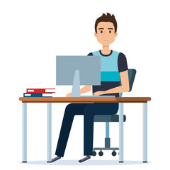 young man in the workplace avatar character vector illustration design