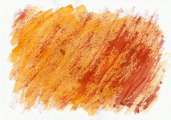 Orange and red horizontal  watercolor  hand drawn  background. Beautiful diagonal hard strokes of the paint brush