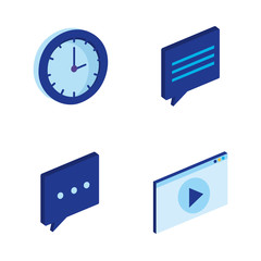 digital technology isometrics icons vector illustration design