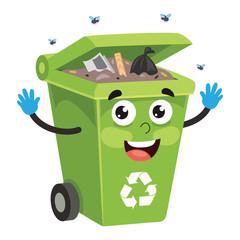 Vector Illustration Of Recycling Bin