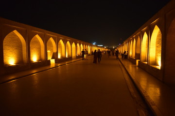 View of the bridge at night in Isfahan. Beautiful night lighting.