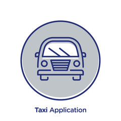Taxi related offset style vector illustration.