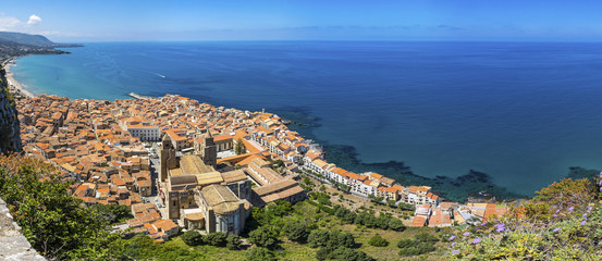 Panoramic aerial view of Cefalu old town, Sicily, Italy