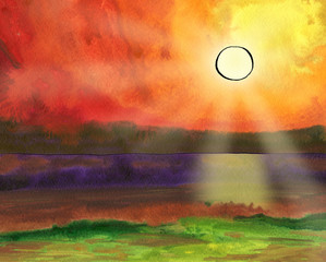Fantasy watercolor seascape with the sun, sunbeams, skyline and wave.