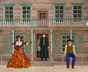 3D Illustration of Wild West Saloon with Cowboys and Madam