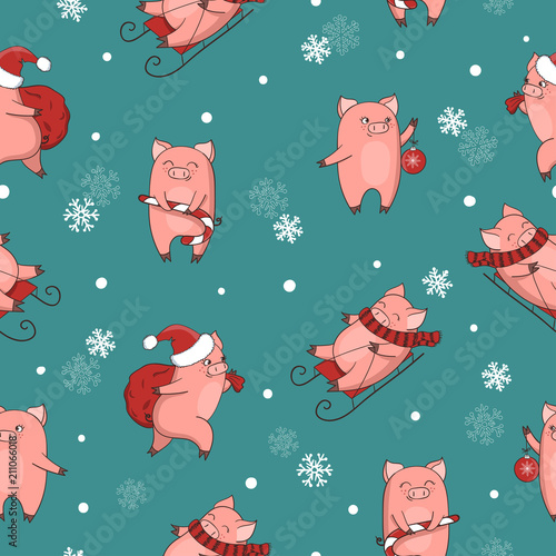 Christmas Pigs.Christmas And New Year Seamless Pattern With Cute Cartoon