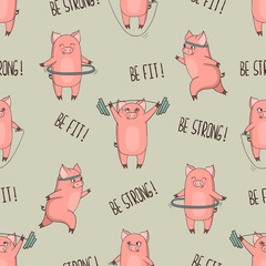 Cute cartoon pigs exercising seamless pattern. Vector fitness print.