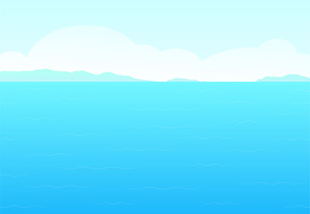 Sea, sky and cloud for background in vector art
