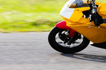 Big bike cornering at high speeds.