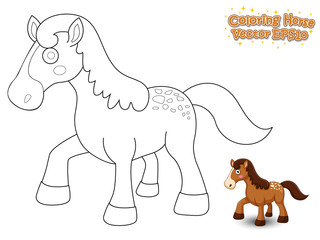 Coloring The Cute Cartoon Horse. Educational Game for Kids. Vector illustration