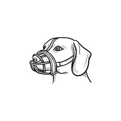 Dog with a muzzle hand drawn outline doodle icon. Pets in the city life and safety dog walking concept. Vector sketch illustration for print, web, mobile and infographics on white background.