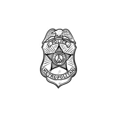 Police badge hand drawn outline doodle icon. Police authority, patrol, guard, cop, power concept. Vector sketch illustration for print, web, mobile and infographics on white background
