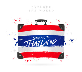 Suitcase with the flag of Thailand. Lettering