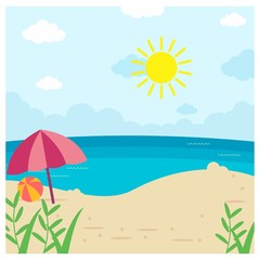 sunny summer beach landscape background scenery