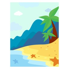 blue mountain and summer beach landscape background scenery
