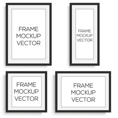 Realistic horizontal and vertical black photo frame. Vector