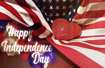 4th of july American Happy Independence day USA waving flag Red heart is brighting inside United States of America flag Gradient retro vintage Celebration Fourth july inscription smoke 3d illustration