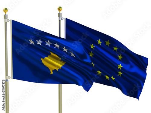 Kosovo Flag Eu Flag Isolated Silk Waving Flags Republic Of Kosovo