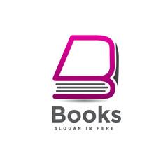 letter B line art Book logo