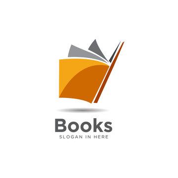 modern orange book open logo and icon