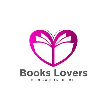 purple paper book open love heart logo