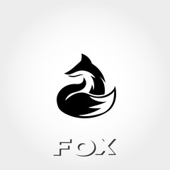 ready care sitting fox art looking back logo