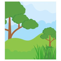 green meadow forest trees jungle scenery landscape background