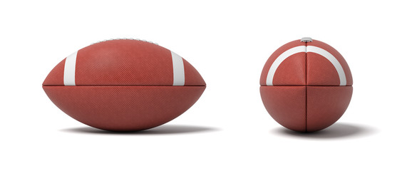 3d rendering of a two red oval balls for American football in front and side views.