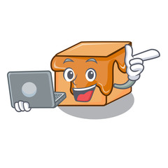 With laptop caramel candies character cartoon