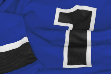 Blue hockey sweater with number one