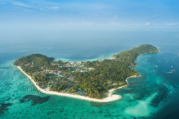 Fototapeta High aerial overview of entire tropical Lipe Island and Andaman Sea in Satun province, Thailand. obraz
