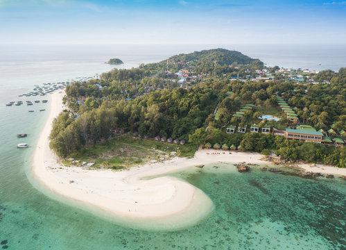 Aerial view of Tropical white sand at Mountain beach, Lipe Island, Thailand.
