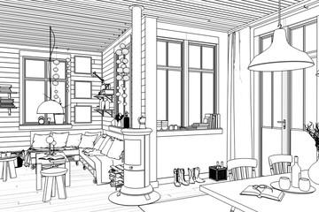 Fotobehang Illustratie Parijs In meinem Sommerhaus (Skizze)