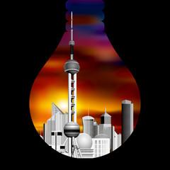 Cityscape in the  Lamp, Shanghai's landmark architecture - Oriental Pearl.