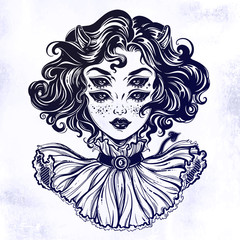 Gothic devil imp like witch girl head portrait with curly hair and four eyes..