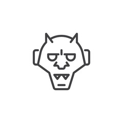 Japanese hannya outline icon. linear style sign for mobile concept and web design. Traditional japanese demon Oni mask simple line vector icon. Symbol, logo illustration. Pixel perfect vector graphics