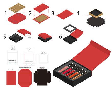 rigid magnet lipsticks product box mockup dieline