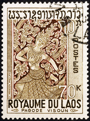 Laotian bas-relief on postage stamp