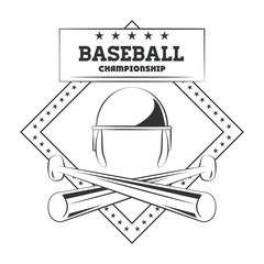 Baseball championship emblem with gray and white vector illustration graphic design