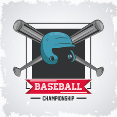 Baseball championship game emblem with equipment vector illustration graphic design