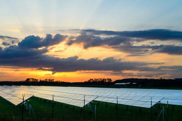 Solar panel at sunset, Alternative electricity source